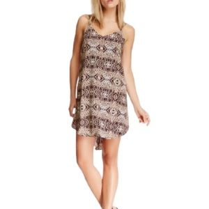 ASTR The Label Strappy Animal Print Dress Tan/Navy